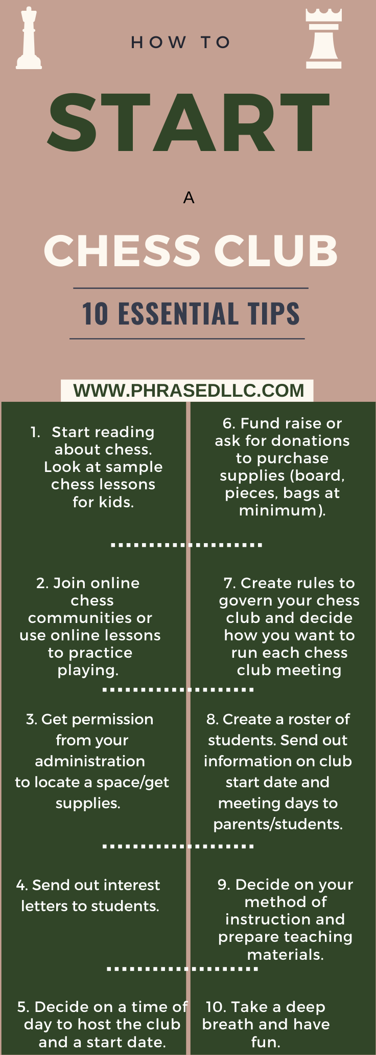 Tips on how to start a chess club in a school or community organization.