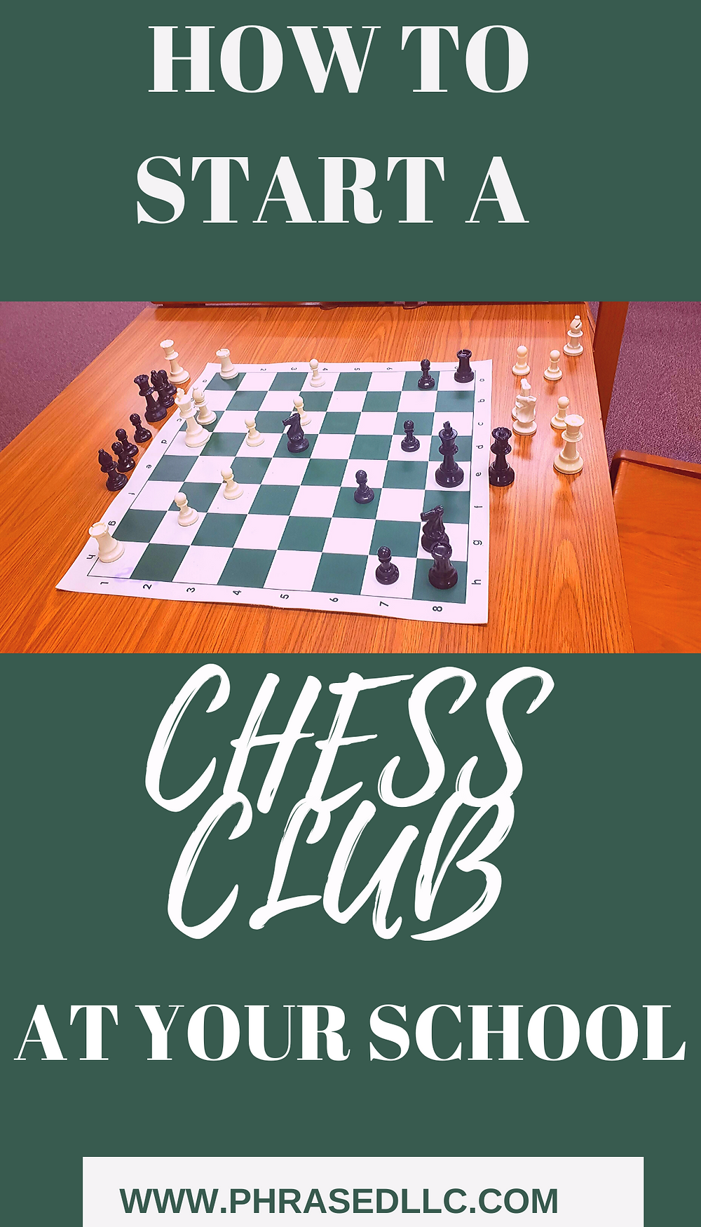 Learn how to start and run a chess club at your school that meets STEM and STEAM initiatives (chess board with a green and tan colored background and writing)