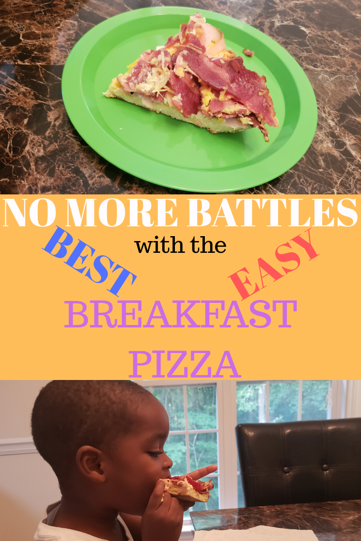 Breakfast pizza recipe with eggs your child will love that is easy to make.