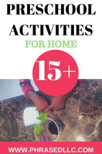 Preschool Activites to enhance childhood development and provide bonding opportunities for parents and children.