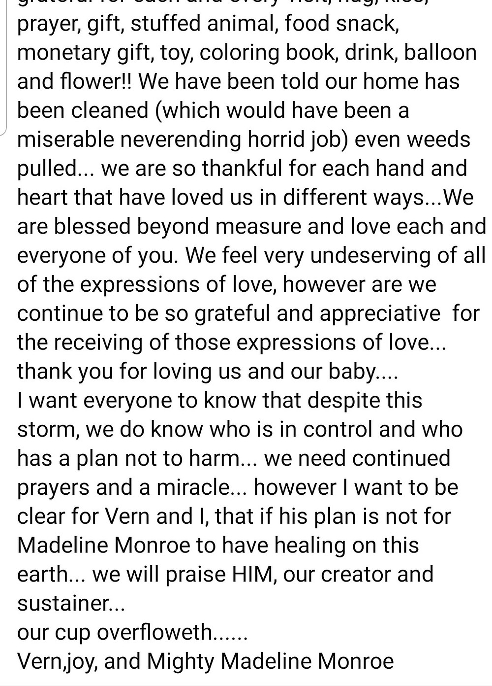 While we pray for a miracle for Mighty Madeline Monroe, let's help to lift her family up.