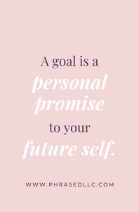 Short inspirational quote on the importance of setting goals for future success