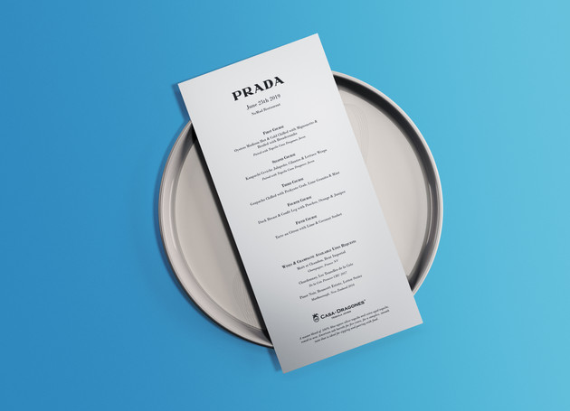 Menu design for a joint event/dinner with Prada and Casa Dragones Tequila