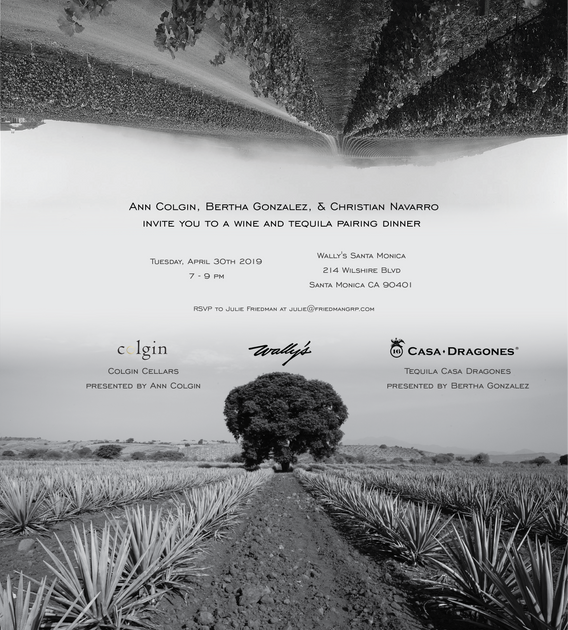 Invitation to a joint event/dinner with Colgin Wines and Casa Dragones Tequila