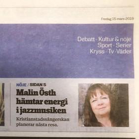 Kristianstadsbladet 2019.03.15