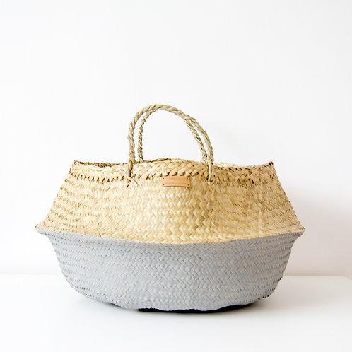 Cesto pintado gris con forro / Grey wicker basket