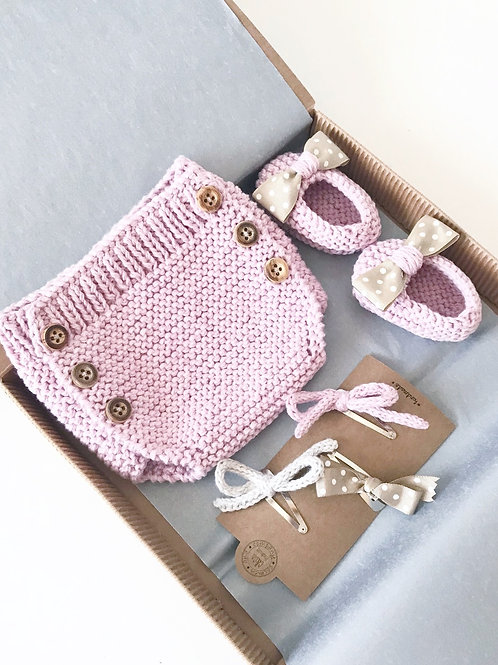 Pack ranita+slippers+3 clips / Pack bloomer+slippers+3 clips
