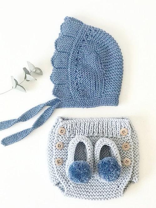Pack ranita+slippers+capota / Pack bloomer+slippers+capota