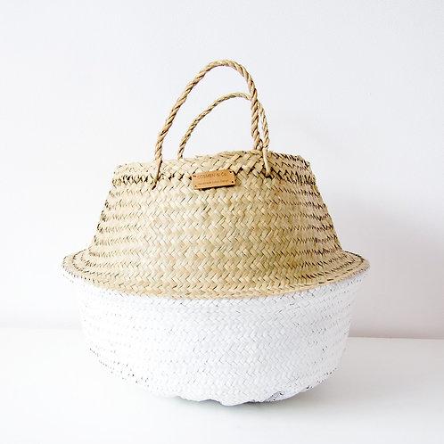 Cesto pintado blanco con forro / White wicker basket