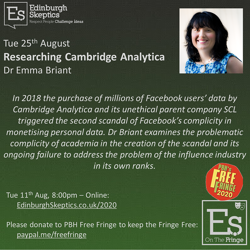 Dr Emma Briant - Researching Cambridge Analytica: : taking on the digital influence industry