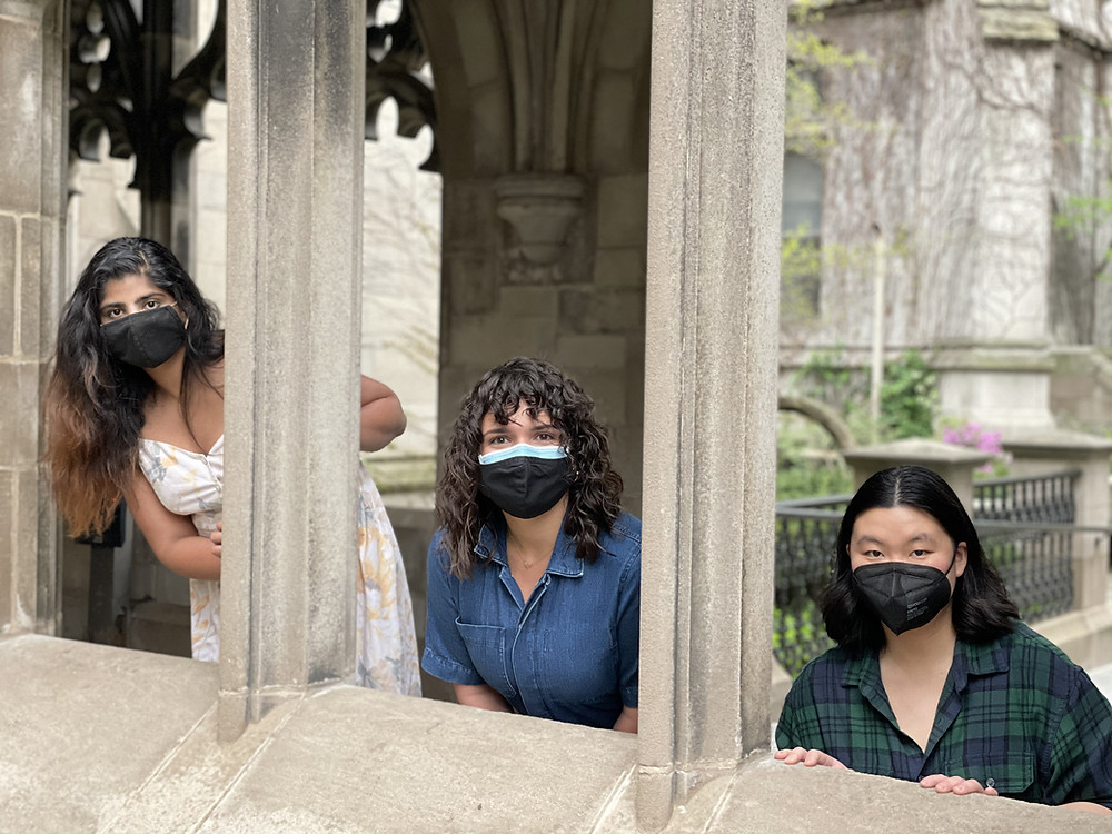 Parul, Murphy, and Natalie peak out their faces from gaps between stone pillars.