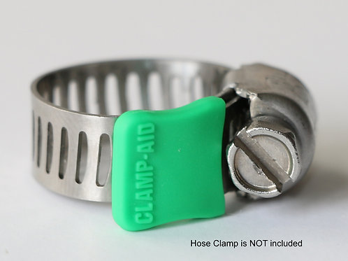 "CLAMP-AID® Hose clamp end guards for 5/16"" wide bands Color: Green"