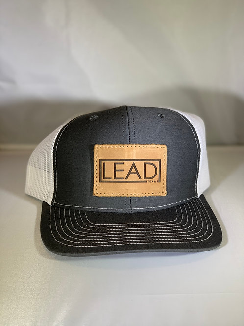 Gray Leather Patch Cap