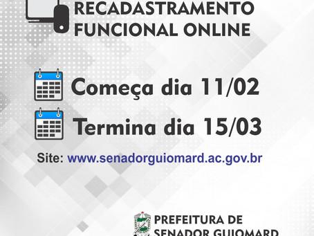 Prefeitura de Senador Guiomard começa recadastramento de servidores públicos hoje, segunda (11)