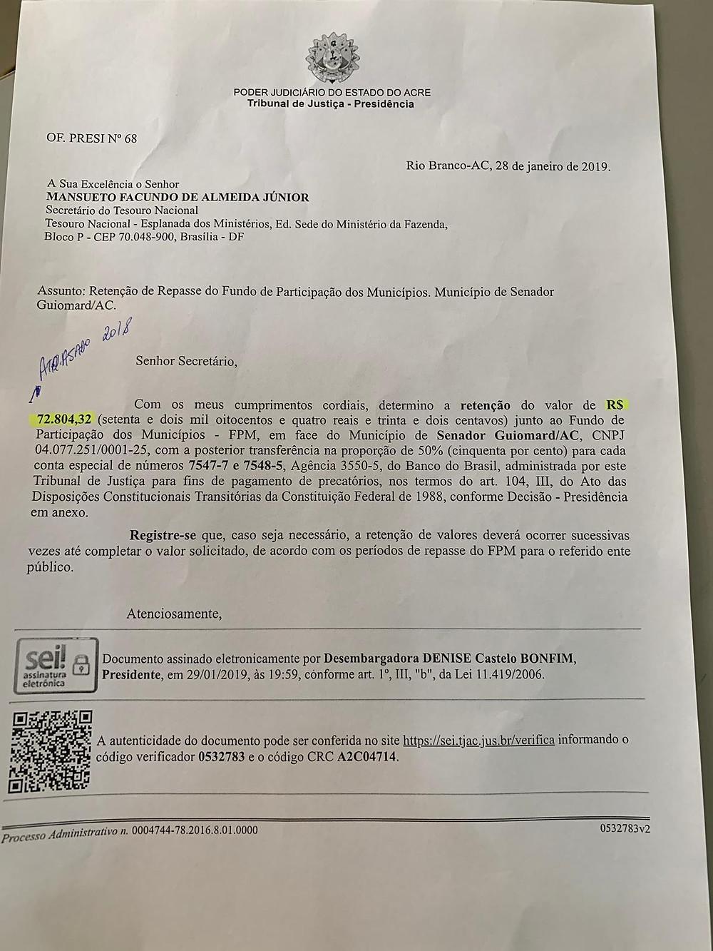 Cópia do Ofício nº 68/2019 assinado pela Desembargadora Denise Bonfim (TJAC)