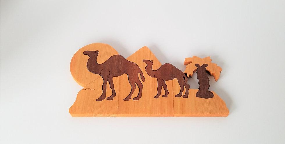 Wood educational toy camel puzzle