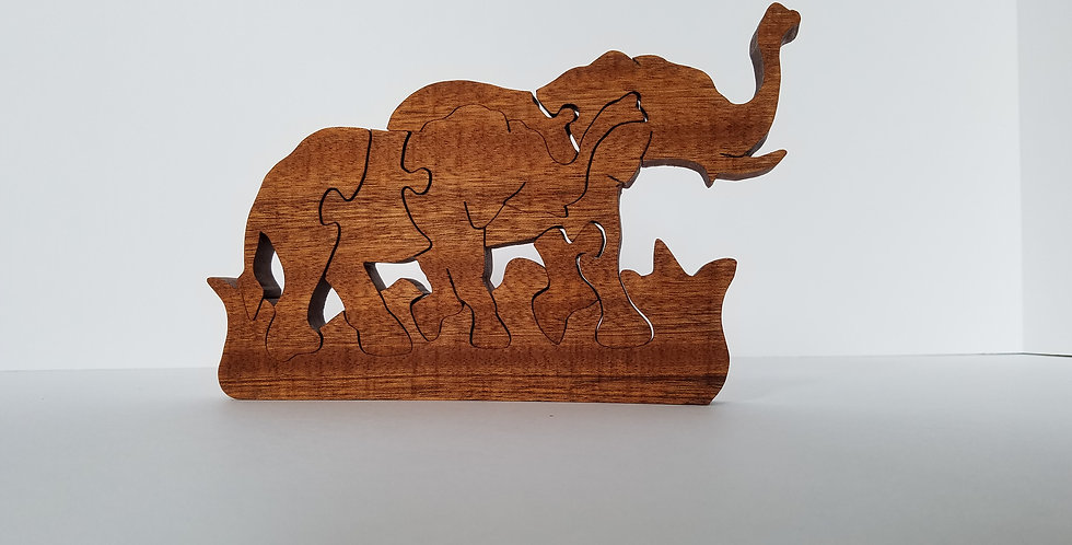 Wood educational toy elephant children's puzzle
