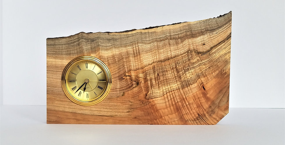 Cherry wood live edge battery operated clock