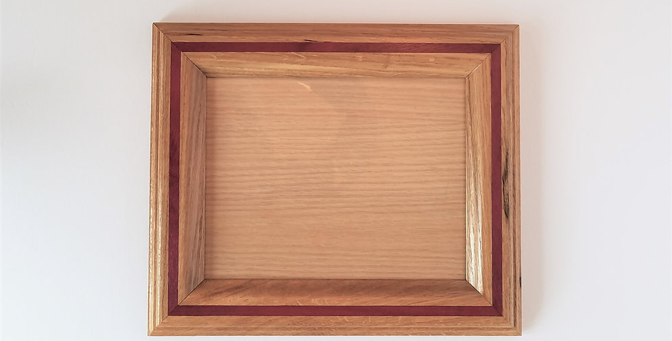8 X 10 inch oak picture frame with purple heart inlay