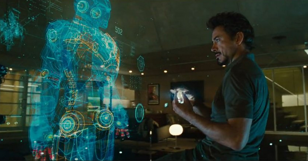 """Tony Stark (Robert Downey, Jr.) speaks to his A.I. system J.A.R.V.I.S. throughout the """"Iron Man"""" films and """"The Avengers."""""""