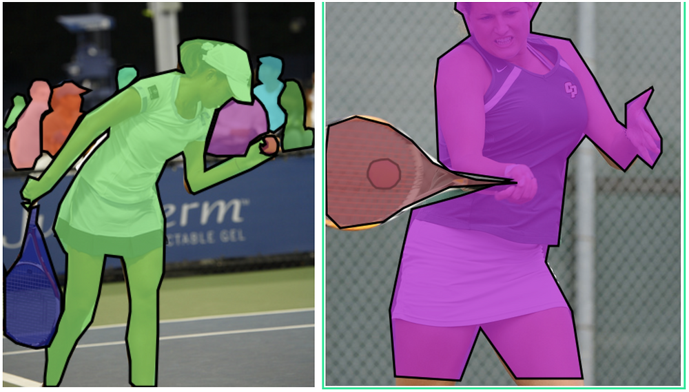 Polygonal segmentation of images from COCO dataset (Source)