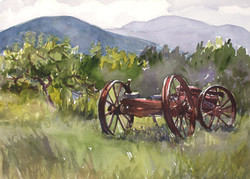 Wagon in Apple Orchard