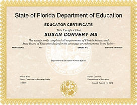 Susan Convery 2019 Teaching Certificate.