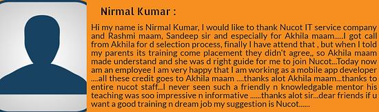 Nirmal Kumar - Nucot testimonial