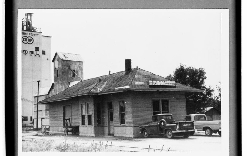 Atchison, Topeka & Santa Fe Railway Company depot, Osborne, Kansas This photograph shows the Atchison, Topeka & Santa Fe Railway Company depot in Osborne, Kansas. The structure currently houses the Osborne County Historical Museum. Date: 1969