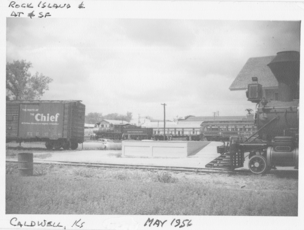 ATSF depot w/ATSF no.1 & CRIP train in background