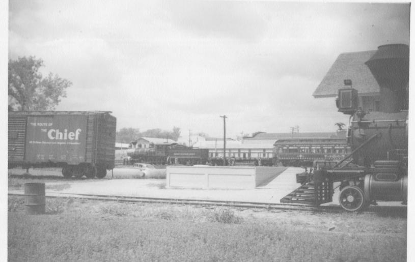 ATSF depot w/ATSF no.1 & CRIP train in background