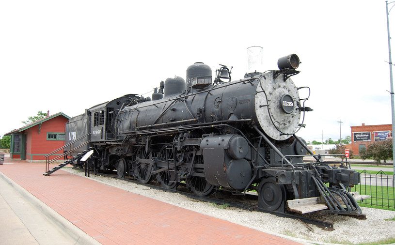 ATSF depot & ATSF 1139, a Baldwin built 2-6-2 Prairie locomotive.