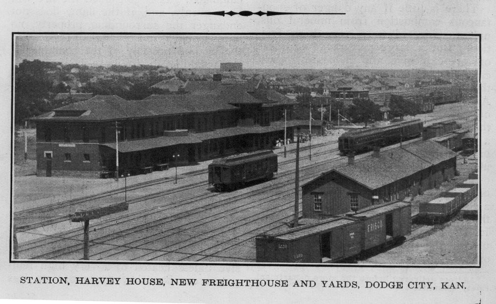 ATSF depot, Harvey House and rail yard