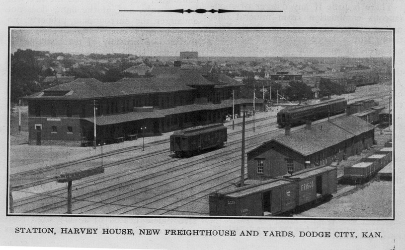 ATSF depot, Harvey House and rail yard