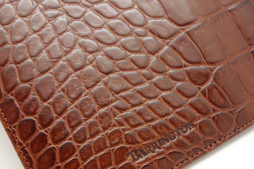 Italian British Tan Moc Croc Leather