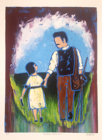 Lil Frida and Guillermo, mono silkscreen