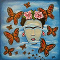 Frida Butterflies blue sky