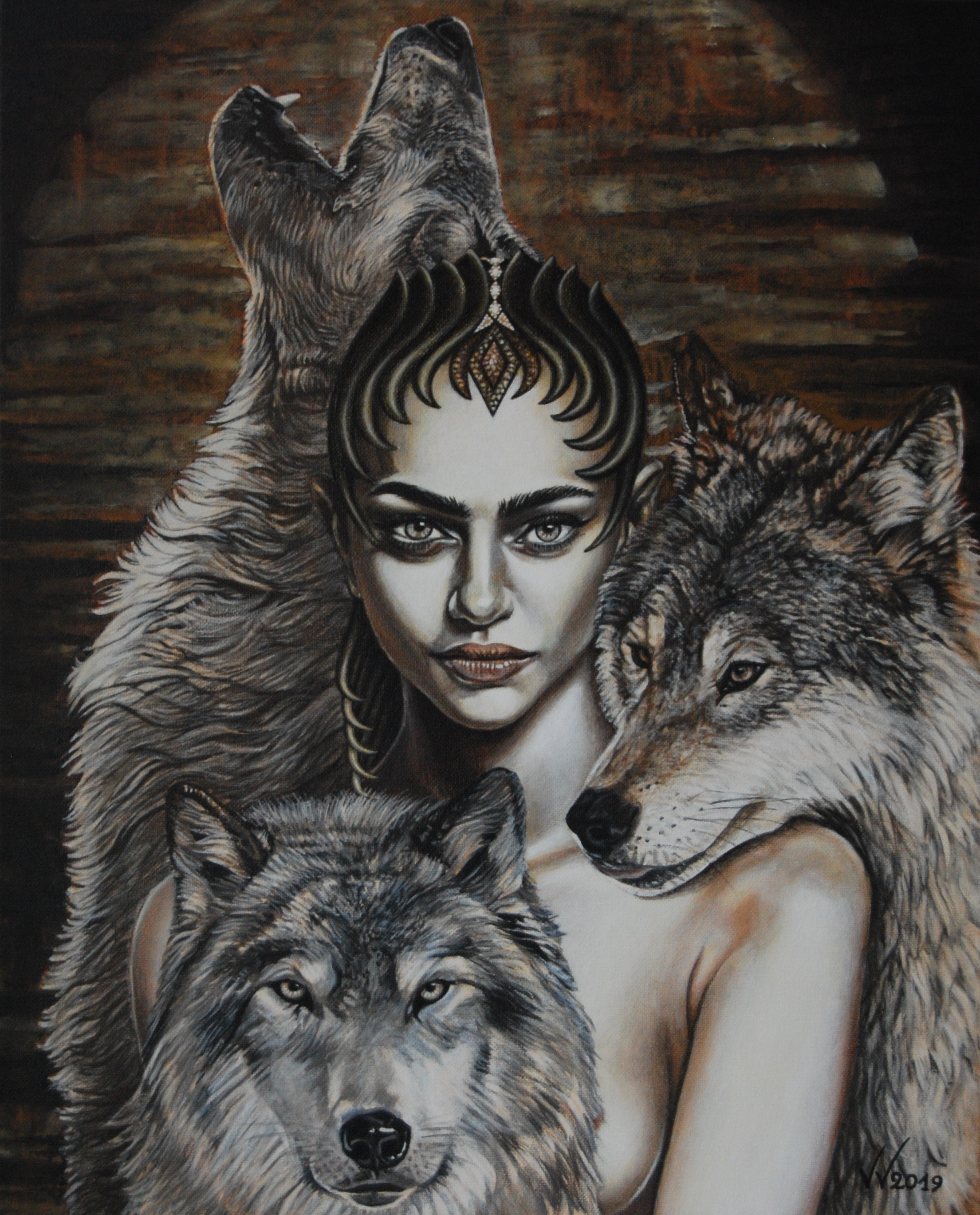Queen with wolves