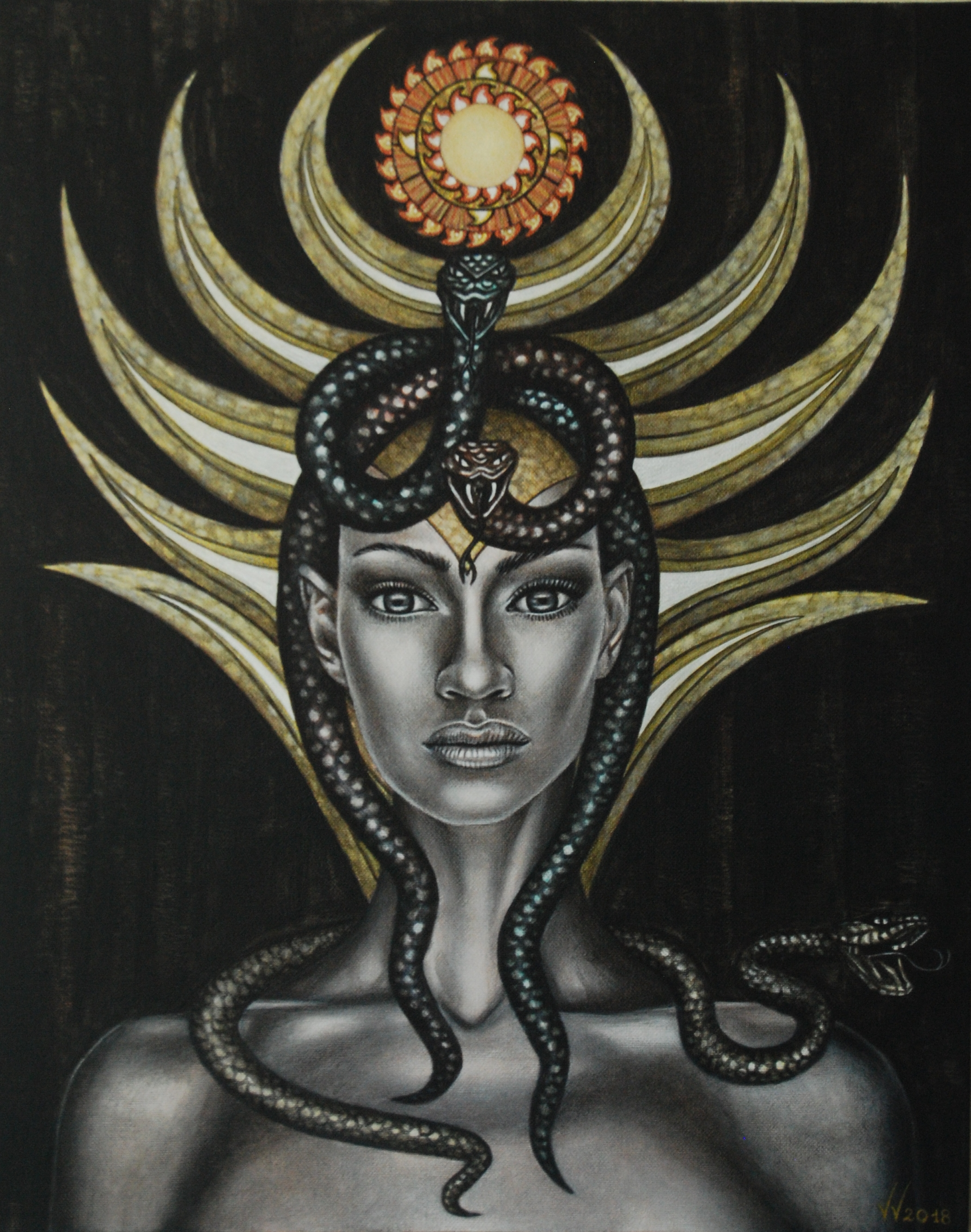 Queen with snakes