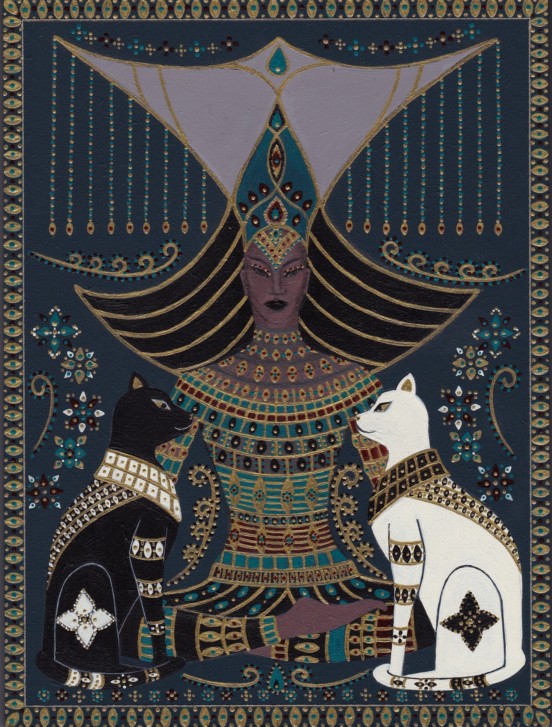 Seated Queen with cats 1