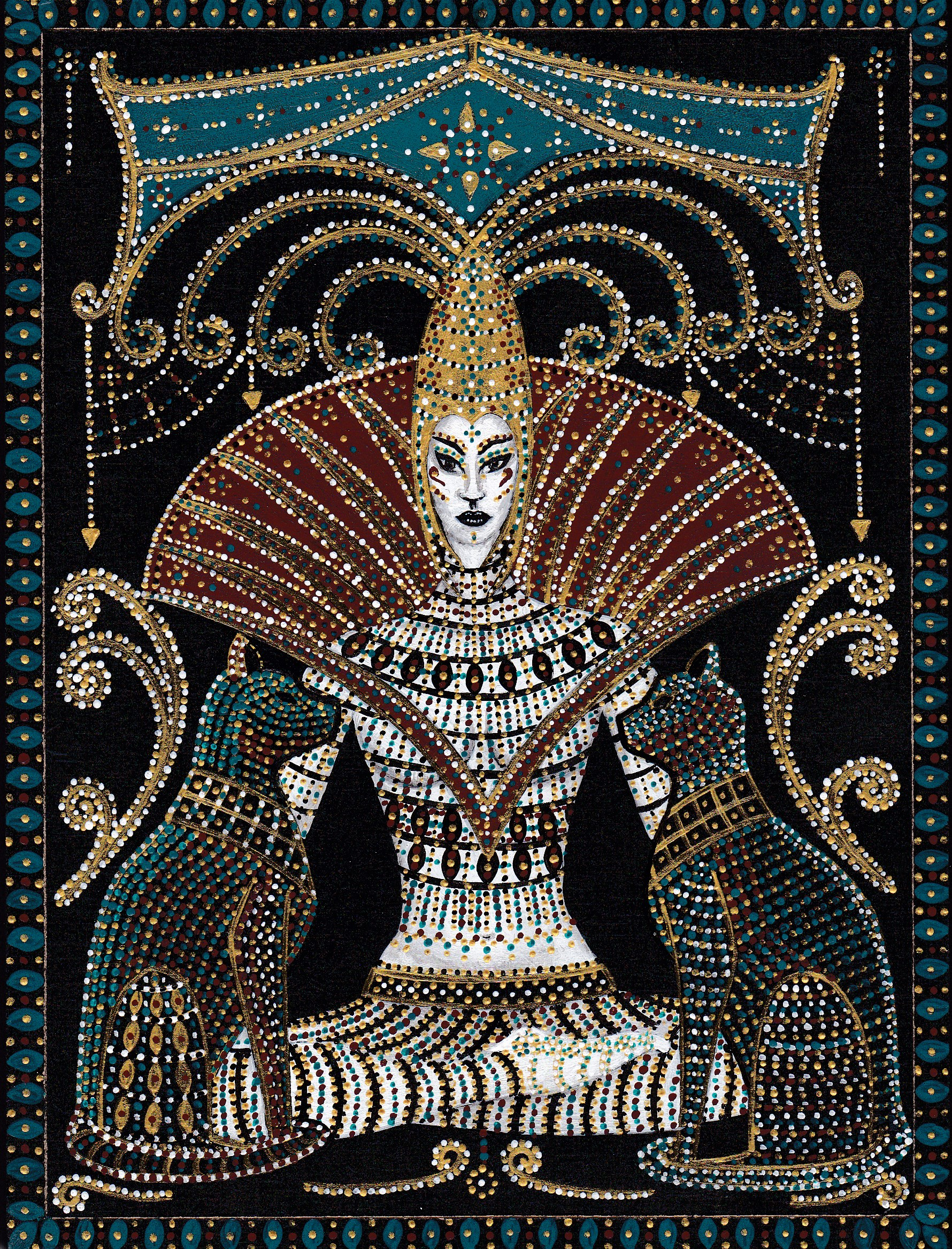 Seated Queen with cats 2