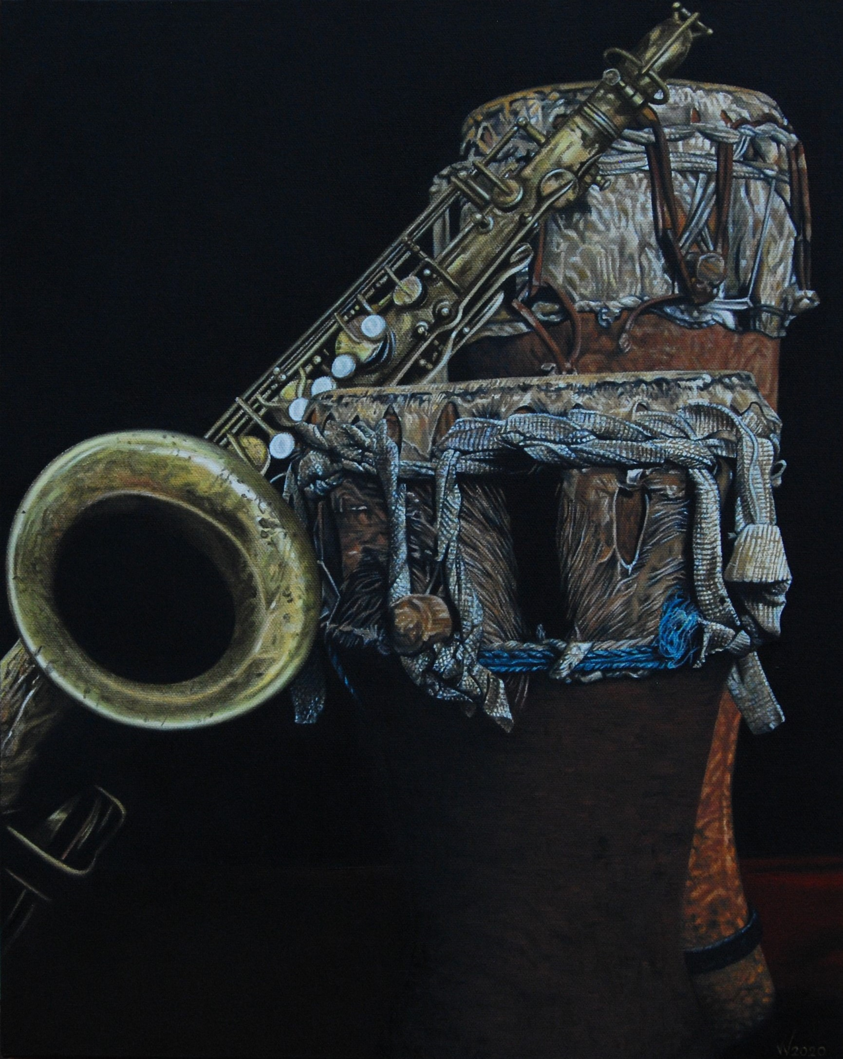 The magic of sound (tenor saxophone and African drums)