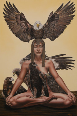 Seated Queen with eagles