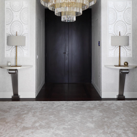 PRIVATE RESIDENCE  LONDON  CARVED HANDSPUN BAMBOO RUG IN CUSTOM PARQUET DESIGN