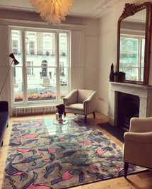 PRIVATE RESIDENCE LONDON  BEAUTIFUL RUG CREATED FOR ANNA CORONEO USING HER TOUCAN DESIGN