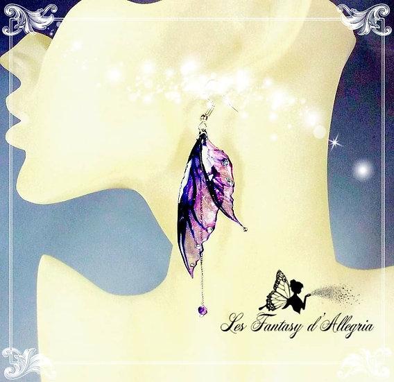 bijoux boucles d'oreilles ailes de fée elfe violette aube tardive