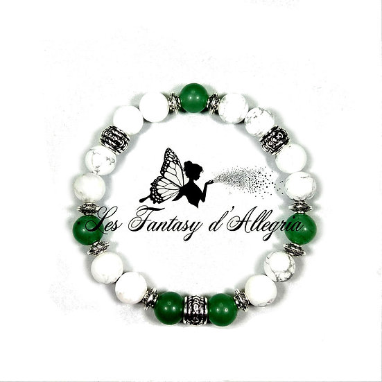 bracelet de perles howlite aventurine 8mm
