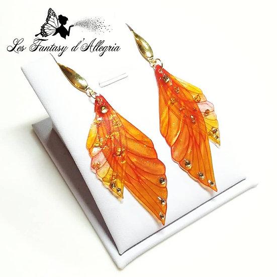 boucles d'oreilles ailes de fée orange feu