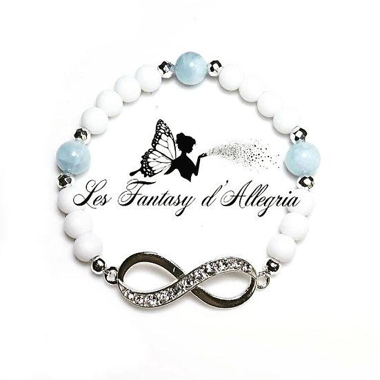 Bracelet en perles agate et aigue marine symbole infini