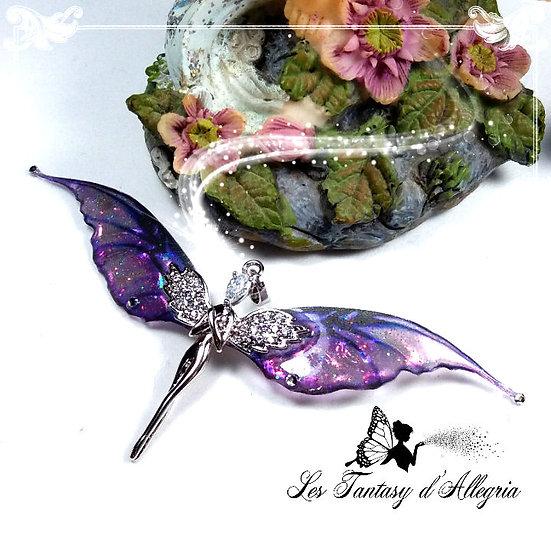 bijoux pendentif ange aile de fée elfe Lelahel violet Pahaliah